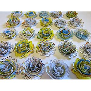 """Scalloped Road Map Roses, Paper Flowers Set, Floral Wedding Decorations Lot of 24, 3D Table Decor, Bridal Shower Art, Travel Theme Party, USA Traveler 1.5"""" Rosettes 68"""