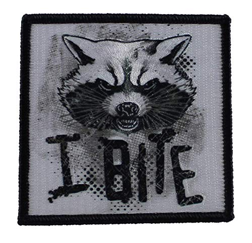 Application Marvel Guardians of The Galaxy Rocket I Bite Embroidered Patch 3 x 0 x 3 inches Logo Sew Ironed On Badge Embroidery Applique ()
