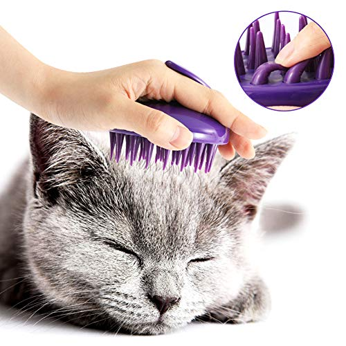 CeleMoon [Soft Silicone Pins] Ultra-Soft Silicone Washable Cat Grooming Shedding Massage/Bath Brush - Safe & No Scratching Any More - - Soft Grooming