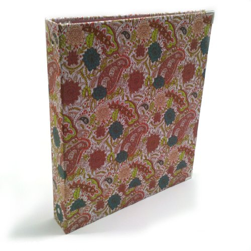 Aurora GB Paisley Print Cloth Binder, 1 Inch Black Round Ring, 8 1/2 x 11 Inch Size, Eco-Friendly, Recyclable, Made in USA (AUA08286)