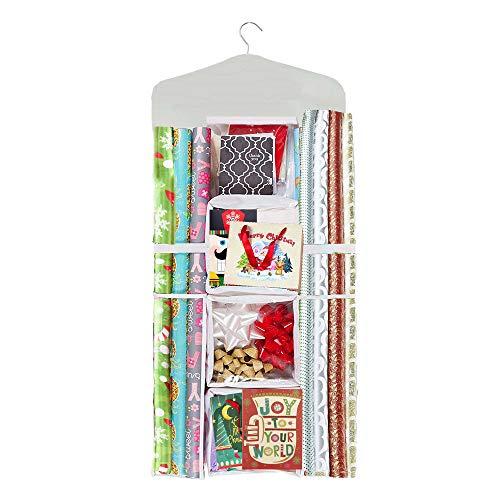 - Lazan Gift Wrap Storage Hanger Organizer Double Sided Wrap Paper Holder (Beige, 01)