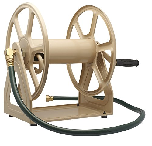 Liberty Garden 709 Steel Wall/Floor Mounted Hose Reel, Holds 200-Feet of 5/8-Inch Hose - Tan (Best Garden Hose Reel)