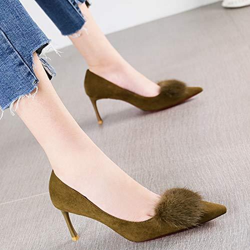 HRCxue Pumps Mode Khaki grün vielseitige Pendler einzelne Schuhe weibliche Pendler vielseitige Haar Stiletto Fersen 5f30ae