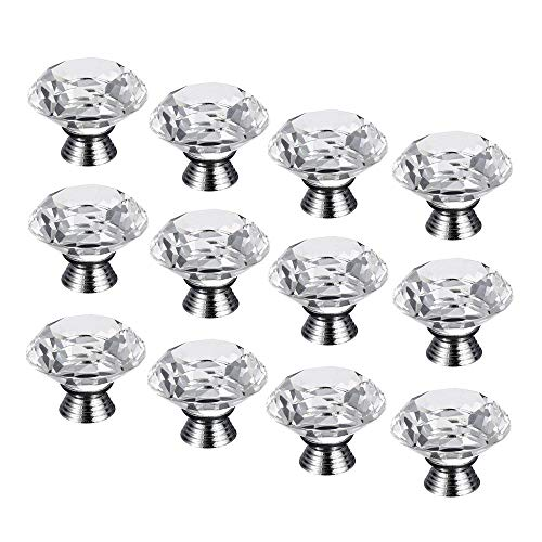 CSKB 12 PCS 30mm Clear Crystal Knob Diamond Cut Door Pull Drawer Handle Cabinet Furniture 8 Colors Available