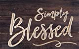 Simply Blessed Script Distressed 17 x 11 Inch Solid Pine Wood Carved Calligraphy Wall Plaque Sign Review