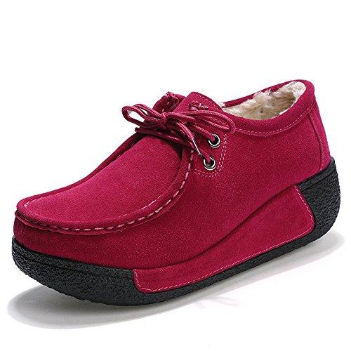 Rosa Più Velluto Guida Loafers Scamosciata Donna Z Da Scarpe Pelle Comode Moda suo Mocassini In AA6qxw7OZ