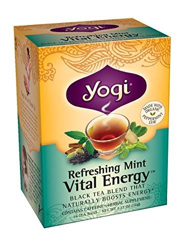 Yogi rafraîchissant thé à la menthe de l'énergie vitale, 16 sachets de thé (pack de 6)