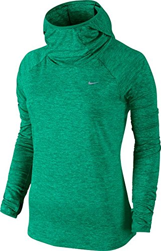 Nike Women's Dry Element Running Hoodie Teal Charge/Heather/Reflective Silver Sweatshirt LG