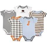 Luvable FriendsCotton Bodysuit, 5 Pack, Fox, 0-3 Months