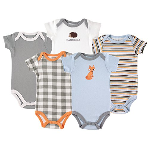 Luvable FriendsCotton Bodysuit, 5 Pack, Fox, 12-18 Months