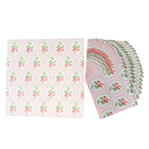 - Almencla 20pcs Serviettes Paper Pink Rose Printing Paper Table Mat Party Supply Perfect for Children Birthday Party, Wedding Ceremony, Graduation Bouquet