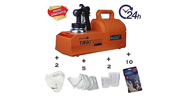 Pistola equipo de pintura profesional para esmalte, laca, barniz etc... Sagola Turbo 1000 + PACK DE REGALO: Amazon.es: Bricolaje y herramientas