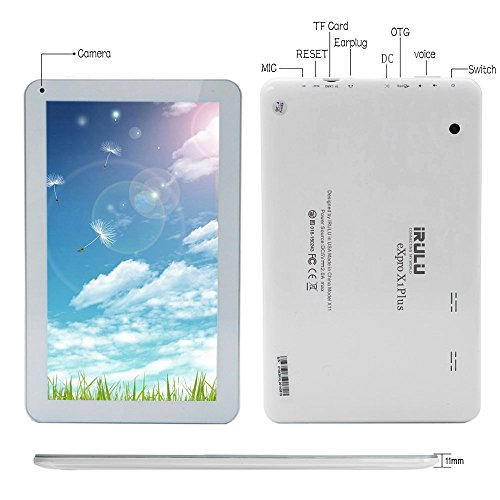 """10.1"""" Google Android 6.0 Tablet, Quad Core 1.3Ghz, Dual Camera, Bluetooth 4.0, 1GB/8GB, Play Store,Netflix,Skype,WiFi,GMS Certified with One Year Warranty,iRULU Expro X1 Plus-X10,White"""