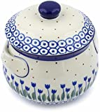 Polish Pottery 23 oz Bouillon Cup with Lid made by Ceramika Artystyczna (Water Tulip Theme) + Certificate of Authenticity