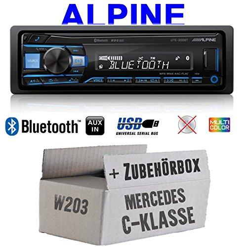 Mercedes C-Klasse W203 - Autoradio Radio Alpine UTE-200BT Bluetooth USB MP3 | 1-Din PKW KFZ 12V Einbauzubehö r - Einbauset JUST SOUND best choice for caraudio MBW203_UTE-200BT