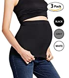 Womens Maternity Belly Band 3 Pack Seamless Everyday Support Bands for Pregnancy(Black+White+Grey)L