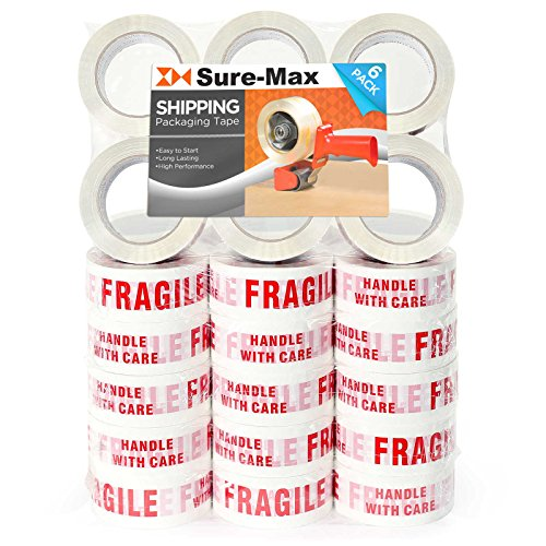 Sure-Max 36 Rolls (Case)''Fragile - Handle with Care'' Printed Warning Tape (2'' x 110 yard/330' each) for Packing & Shipping Glass - White & Red by Sure-Max