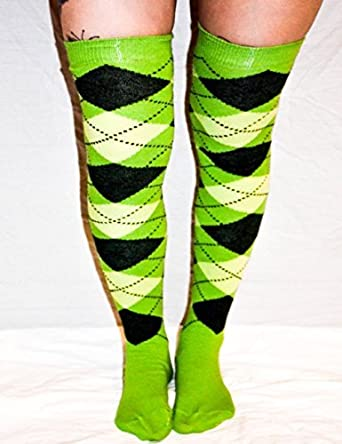 a683bcc4f Green and Black Argyle patterned Over The Knee Socks  Amazon.co.uk  Clothing