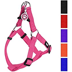 """PUPTECK No Pull Dog Harness Adjustable Basic Nylon Step in Puppy Vest Outdoor Walking Chest Girth 14.8""""-24"""" Small Pink"""