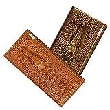 Naovio Women Wallet Elegant Clutch Alligator Embossed Long Purse Leather Credit Card Holder,Gold