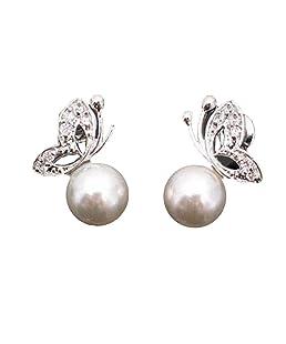 Perle boucles d'oreilles dames femmes boucles d'oreilles belle perle strass papillon boucles d'oreilles oreille stud oreille bijoux shippin gratuit