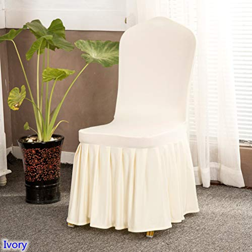 - ROGEWIN Chair Covers Ivory Colour Wrap Angle Skirted Spandex Lycra Universal Ruffled Decoration Ruched Cleanable Thick