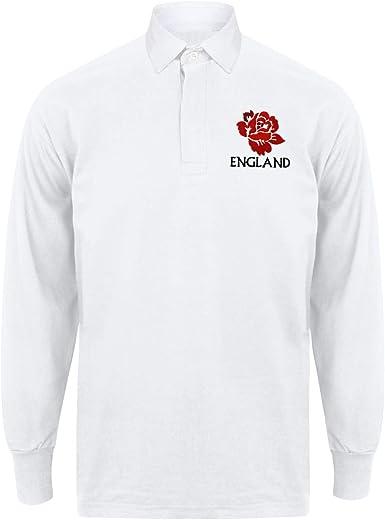 Camisa de manga larga Escudo Vintage bordado inglés Inglaterra Rugby para hombre con personalización gratuita de impresión Me una camiseta en color ...