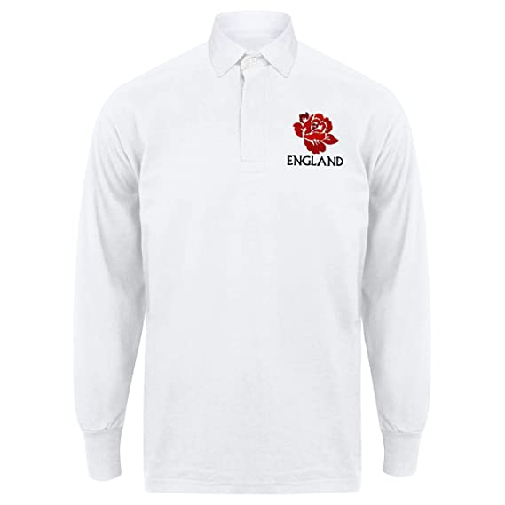 c9edc952 Printmeashirt Men's Classic Embroidered England Rose Crest Long Sleeve Rugby  Shirt, White, Small