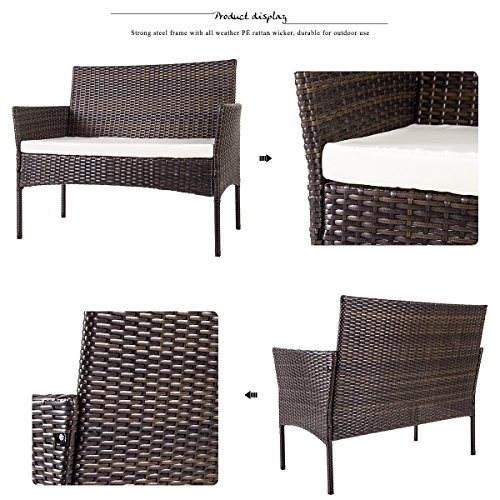 Merax PC Outdoor Set Wicker Sofa
