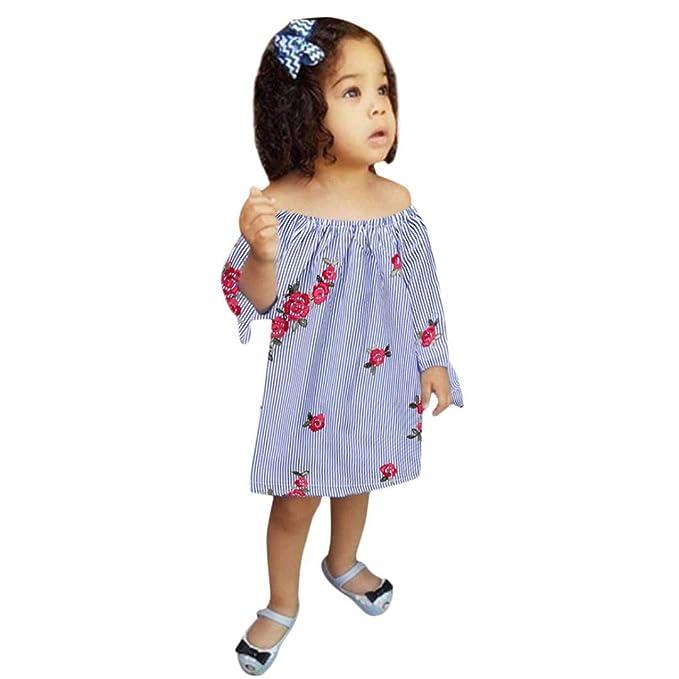 beautyjourney Vestido de Princesa con Rayas Florales Bordado niña bebé, Saco de Dormir de Pijama de Manga Larga Trajes de Ropa de bebé: Amazon.es: Ropa y ...