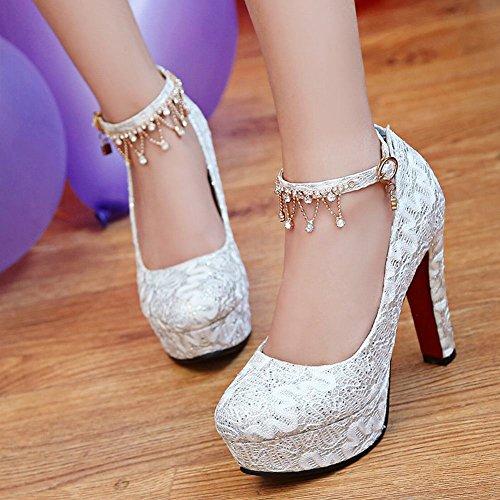 Ankle Platform Heels Latasa High Pumps strap White Women's apvHxO