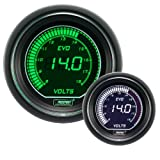 Volt Gauge- Electrical Green/white EVO Series 52mm (2 1/16