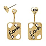 Fashion Jewelry by SJA Fashion for Less | ''Love'' Heart Ear Jacket Earrings (White)