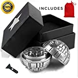 Death Star Grinder for herbs spices - Star Wars Weed Herbs Kief – Keef and pollen Catcher 100% Guarantee with BONUS BOX & Travel Pouch 2.05' Inches 3 Pieces