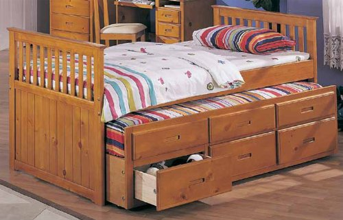 Amazon.com: Twin Captain Bed with Trundle & 3 Drawers in Honey