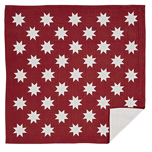 VHC Brands Christmas Farmhouse Bedding - Kent Red Quilt, Queen, Crimson (Chambray Voile Rod Pocket)