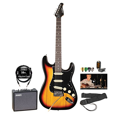 Sawtooth ST-ES-SBB-KIT-5 ES Series Electric Guitar Pack with Amp and Accessories, Sunburst with Black Pickguard