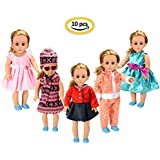 "FairyStar American Girl Doll Clothes Wardrobe Makeover (10pcs), 5 Outfits American Girl Doll Accessories Set Clothes, Fits 18"" Doll Clothes"