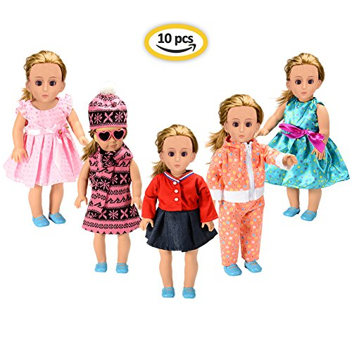 American Girl Doll Clothes Wardrobe Makeover , 5 Outfits American Girl Doll Accessories Set Clothes, Fits 18″ Doll Clothes