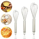 Philonext Stainless Steel Kitchen Whisk, Balloon Wire Whisk, Egg Frother, Milk Beater, Kitchen Utensil for Blending Whisking Beating Stirring, Set of 3 8inch+10inch+12inch
