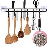EigPluy Utensil Racks,Wall Mounted Kitchen Utensils Hanging Hooks with Knife/Towel Holder, 17inch Drilling Free Kitchen Tools/Pot/Towel/Knife/Mug/Cups Storage Holder Shelf,Black