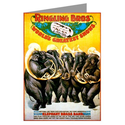 Single Circus Poster Of Elephant Brass Band For Ringling Bros c1899 Greeting Card