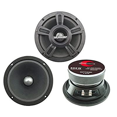 "Lanzar Upgraded Opti Pro 6.5"" High Power MidBass - Powerful 500 Watt Peak 105Hz – 12 kHz Frequency Response 30 Oz Magnet Structure 4 Ohm w/Paper Cone and Foam Surround Full Range Speaker - OPTI6MI: Car Electronics [5Bkhe0413936]"