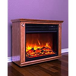 LifeSmart Large Room Infrared Quartz Fireplace in Burnished Oak Finish w/Remote