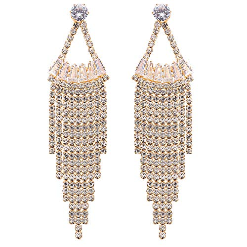 - Stylebar Tassel Drop Earring CZ Crystal Sector Shape Long Chain Dangling Bridal Dangle Earrings for Wedding Brides Women Girls Clear Gold Tone