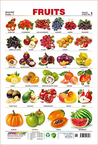 Spectrum Pre - School Kids Learning Laminated Educational Fruits Name Wall Chart