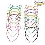 #6: Hongfa Cat Ear Plastic Headbands Hairbands Party Costume Daily Decorations Party Headwear for Women Girls,14 Pieces