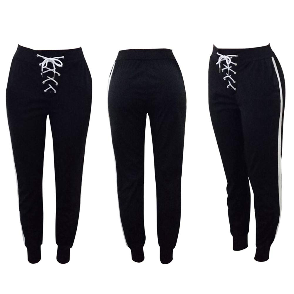 Dreamparis Women\'s Lace Up Pencil Pants - Casual High Waist Workout Sports Leggings with Pockets Medium Black