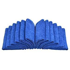 Sinland Lint Free Microfiber Cleaning Cloths Kitchen Cleaning Cloth Dish Cloth 12 Inch X 12 Inch 12 Pack Dark Blue