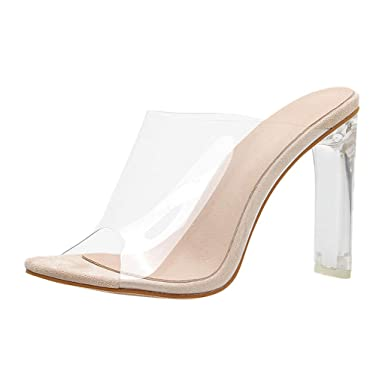 d9390ab3a34 Amazon.com: Summer Simple Women's high Heel Transparent Sandals ...